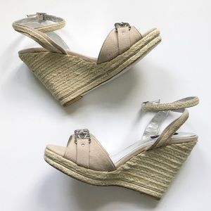 Tan Espadrille Wedge Sandal w. Ankle Strap - 8.5